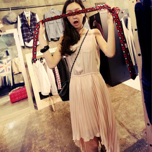 Cherry Dress เดรสชีฟอง กระโปรงพลีท ชายกระโปรงหน้าสั้นหลังยาว